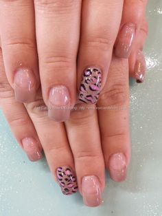 Nude gel polish with pink leopard nail art... French line should be lower but cute