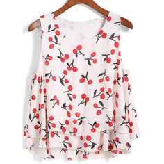 SheIn(sheinside) White Round Neck Cherry Print Tank Top ($8.99) ❤ liked on Polyvore featuring tops, shirts, crop top, blusas, white, crop tank, white tank, white camisole, crop shirts and white crop top