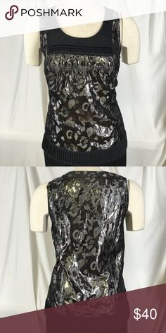 TORY BURCH Metallic Gray Leopard Print Shirt sz 4 TORY BURCH Silver Metallic Cheetah Claire Gray Leopard Print Shirt Top Blouse 4. Measurements with items laying flat doubled when necessary 