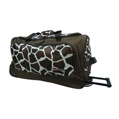@Overstock - This stylish rolling duffle bag comes in a giraffe print that looks great. The printed bag has in-line skate wheels to help it roll easily to your destination without too many bumps or rattling.      http://www.overstock.com/Luggage-Bags/Olympia-Giraffe-26-inch-Fashion-Rolling-Upright-Duffel-Bag/6393639/product.html?CID=214117 $34.49