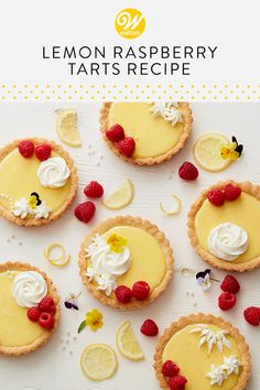 Celebrate the delicious flavors of summertime with these Lemon Raspberry Tarts. A wonderful sweet treat for a bridal or baby […] Raspberry Desserts, Raspberry Tarts, Lemon Desserts, Lemon Recipes, Köstliche Desserts, Baking Recipes, Sweet Recipes, Delicious Desserts, Dessert Recipes