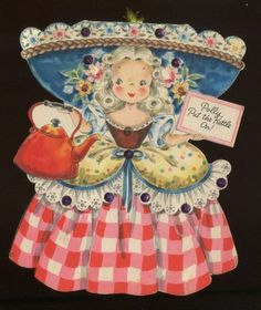 1947 Hallmark LAND OF MAKE BELIEVE Doll Card - POLLY PUT THE KETTLE ON