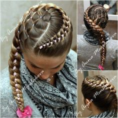 Awesome. Ok, I think this is a 4 strand Dutch braid, using a ribbon for one of the strands. I'm going to try this, minus the lattice-work.