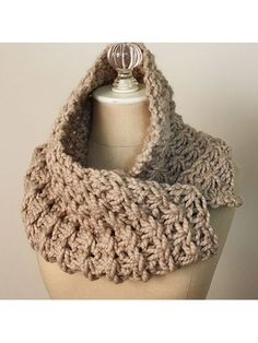 "Chunky and elegant, this cowl can be worn a number of ways and can easily be stitched in a short amount of time. Knit with 106 yds of super chunky-weight yarn at a gauge of 10 sts and 10 rows per 4"" using U.S. size 19/15.5mm needles. Finished si..."
