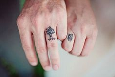 Tree and owl tattoo. Finger tattoo. Couples finger tattoos