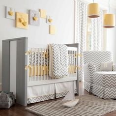Gray and Yellow Zig Zag Crib Bedding | Bold Chevron Stripe Crib Bedding for Girls or Boys | Carousel Designs 500x500 image