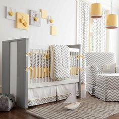 Gray and Yellow Zig Zag Crib Bedding | Bold Chevron Stripe Crib Bedding for Girls or Boys | Carousel Designs 500x500 image