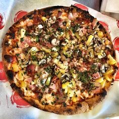 Hawaiian done right with Pineapple sausage bacon ham mushrooms and topped with cilantro!  #pizza #kreate #kreatepizza #kreateglendale #whatwillyoukreate #northhollywood #highlandpark #glendale #silverlake #pizzalove #pizzaporn #pizzatime #foodie #foodgasm #foodporn #eat #eater #losangeles #california #eaglerock #goodeats #burbank #calzone #calzonepizza #nutellapizza #hawaiian