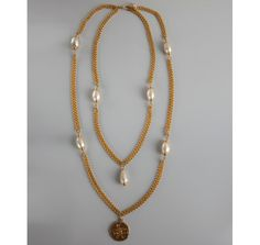 Chanel gold coin and faux pearl vintage layered necklace | BLUEFLY up to 70% off designer brands