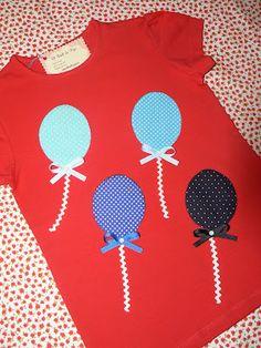 Camiseta hecha totalmente a mano con dibujo de globos. info@elbauldepipo.es