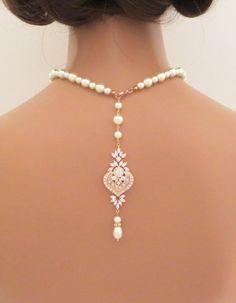 Bridal Backdrop necklace, Rose gold Back drop necklace, Pearl Wedding necklace, Crystal necklace, Art Deco, Rose Gold necklace, EMMA