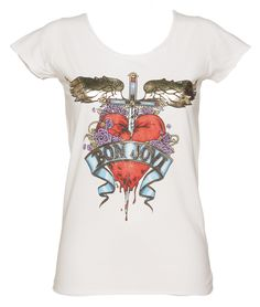 Ladies White Heart And Dagger Bon Jovi T-Shirt from Amplified #Vintage xoxo