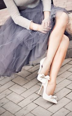 Grey Tulle Skirt + bows on cream high heel pumps