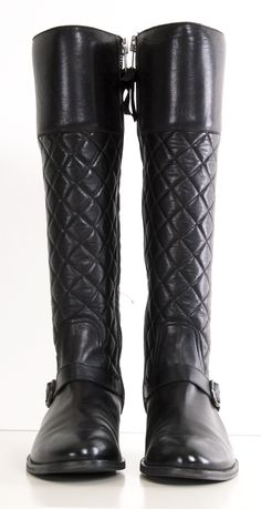 Madison Black Leather Quilted flat boots
