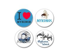 4 X Mykonos Island buttons!    #badges #pins #pinbacks #summer #greekIslands #vacations #mykonos #santorini #sea