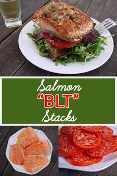 """Use slabs of salmon to sandwich arugula, tomatoes, and thick-cut apple wood smoked bacon, then top the """"stack"""" with lemon caper vinaigrette for a delicious lunch or dinner!"""