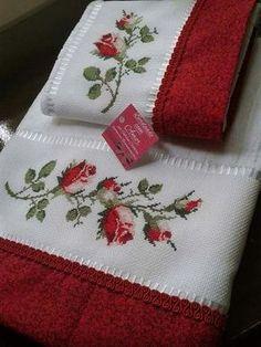 Towel with Cross-Stitch Cross Stitch Borders, Cross Stitch Rose, Cross Stitch Flowers, Cross Stitch Designs, Cross Stitching, Cross Stitch Patterns, Ribbon Embroidery, Cross Stitch Embroidery, Embroidery Patterns
