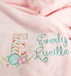 Personalized Baby Blanket - Floral Baby Blanket - Boho Baby Blanket - Embroidered Baby Blanket - New Gifts For Newborn Girl, Girl Gifts, Personalized Baby Blankets, Personalized Baby Gifts, Unique Baby Gifts, New Baby Gifts, Embroidered Baby Blankets, Pink Blanket, Baby Girl Names