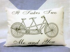 Tandem Bicycle Bike Love  Vintage Retro Style Cushion Pillow £7.50