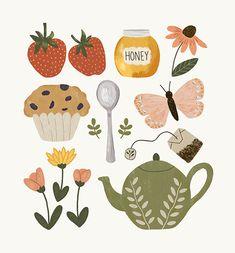 photography and illustration Art Mignon, Illustration Noel, Garden Illustration, Journal Stickers, Art Design, Cute Stickers, Cute Drawings, Cute Art, Art Inspo