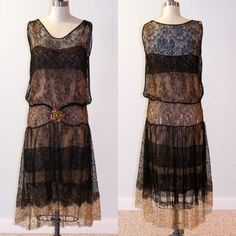 1920s Black Floral Net and Gold Metallic Lace Dress