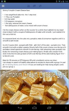 Skinny Pumpkin Cream Cheese Bars Made with angel food cake mix