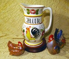 "rooster and  roses | Vintage 1950's Ucagco ""Rooster & Roses"" Milk Pitcher, Hand Painted ..."