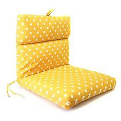yellow polkadot chair cushions