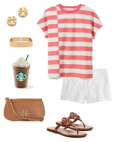 """Entry three for #starbucksprep"" by thedancersophie ❤ liked on Polyvore featuring Tory Burch, J.Crew and starbucksprep"