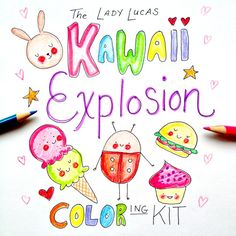 Kawaii Explosion Coloring Book Kit - 4 Adorable Coloring Books for Adults or Kids to Color - Kawaii Foods and Characters - 4 Printable PDFs