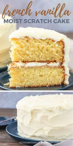 You'll want to make this moist french vanilla cake from scratch every day. Add this fluffy cake to your best cake recipe list because it's sure to be a favorite. This cake is super moist and jam packed with french vanilla flavor, then it's covered French Vanilla Cake Recipe From Scratch, Perfect Vanilla Cake Recipe, Cake Recipes From Scratch, Best Cake Recipes, French Vanilla Cupcakes, White Cake Recipe With Pudding, Easy Vanilla Birthday Cake Recipe, Wedding Cake Recipes, 9 Inch Cake Recipe