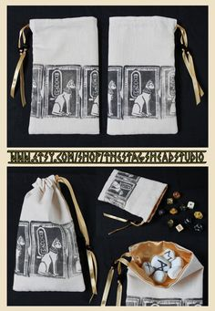 Hand Printed Bastet Pouch by Imogen Smid of The Stag's Head Studio - Tarot Bag, Dice Bag, Runes Bag, Kemet, Egyptian Mythology, Cat, Pagan Altar