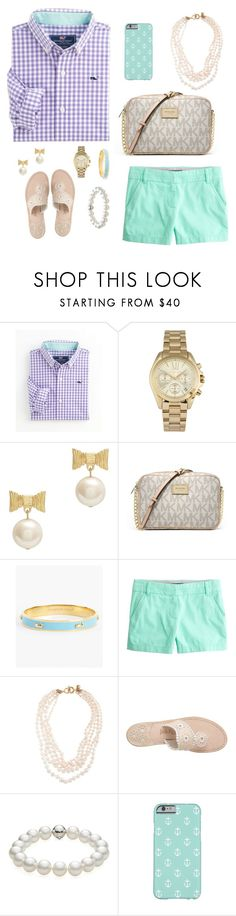 """Preppy and classy✨"" by prep29 ❤ liked on Polyvore featuring Vineyard Vines, Michael Kors, Kate Spade, MICHAEL Michael Kors, J.Crew, Jack Rogers and TARA Pearls"