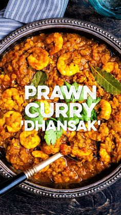 This Dhansak is a an easy and protein-packed prawn curry that's ready in just 30 minutes. Seafood Curry Recipe, Curry Recipes, Seafood Recipes, Indian Food Recipes, Asian Recipes, Chicken Recipes, Spanish Food Recipes, King Prawn Recipes, Moroccan Recipes