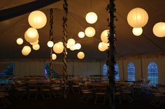 Lighted Paper Lanterns in a 40 x 100 tent in South Windsor, CT.
