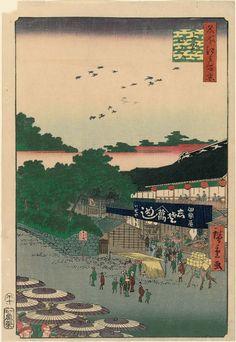 Ueno Yamashita (Ueno Yamashita), from the series One Hundred Famous Views of Edo (Meisho Edo hyakkei) Japanese 1858 (Ansei 5), 10th month Artist Utagawa Hiroshige I (Japanese, 1797–1858), Or Utagawa Hiroshige II (Shigenobu) (Japanese, 1826–1869) | Museum of Fine Arts, Boston