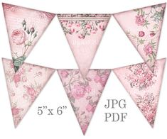 DIY crafts Printable shabby chic bunting garland Pink floral party bunting banner by DigitalCS