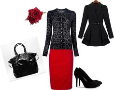 Red pencil skirts are always good to have! Good for any occasion!love this entire outfit!