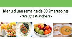 Menu d'une semaine contenant une sélection des repas complets et simples à préparer chez vous avec un total de 30 smartpoints.