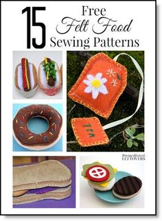 15 free felt food sewing patterns * Play Felt Food * Sprinkled Donuts, Peanut Butter & Jelly, Hot Dogs, Tea Bags & More! * DIY Pattern Inspiration