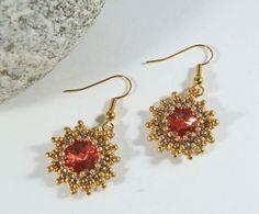 Swarovski Rivoli Earrings Salmon Red & Gold by BeauBellaJewellery