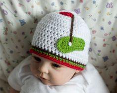 BABY GOLF BEANIE Crocheted Hat Girls or Boys Photo Prop in Soft White Yarn Size Preemie, Newborn, 0-3, 3 Months by Grandmabilt on Etsy