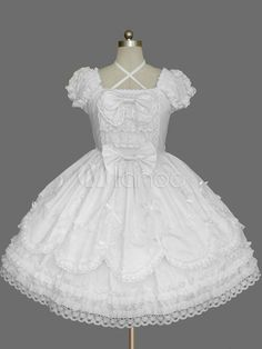 White Bows Cotton Gothic Lolita One-Piece for Girls - Milanoo.com