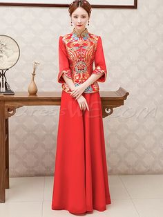 Buy Fashion Long Sleeves A-Line Oriental Wedding Cheongsam Dress  Online, Dresswe.Com offer high quality fashion,Price: USD$130.79