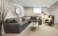 This is the finished basement of the Tweed bungalow model home in Russell. There is also a finished bedroom and bathroom in this model. Finished Basements, Semi Detached, Model Homes, Bungalow, Townhouse, Tweed, Couch, Bathroom, Furniture