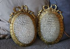 Pair Antique French Beaded Wall Sconces Incredible-