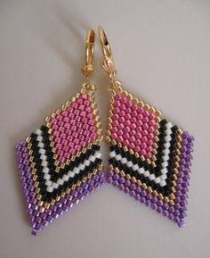Seed Bead Beadwoven Earrings by pattimacs on Etsy