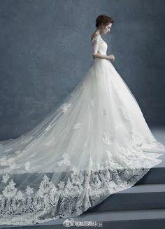 Cathedral Train Wedding Dress, so beautiful
