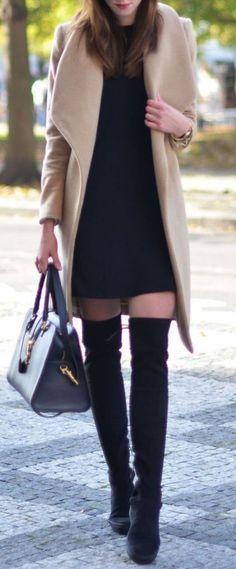 #winter #fashion / beige coat + black knit dress