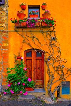 Fuerte y resistente puerta de madera con el fondo de una pared que contrasta por su armónico color amarillo.Muy Buena idea!!